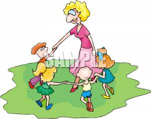 Adult Woman Playing In a Circle of Children.