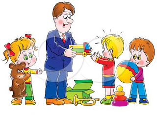 Adult Giving Child Toy Clipart.
