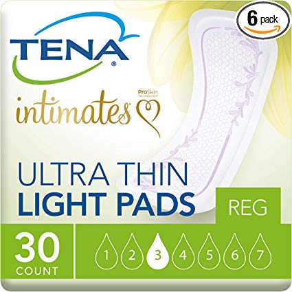 Tena Incontinence Ultra Thin Pads for Women, Light, Regular, 30 Count.