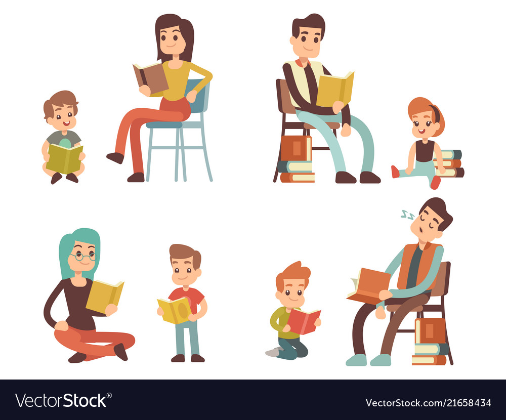 Cartoon character adults and kids reading books.