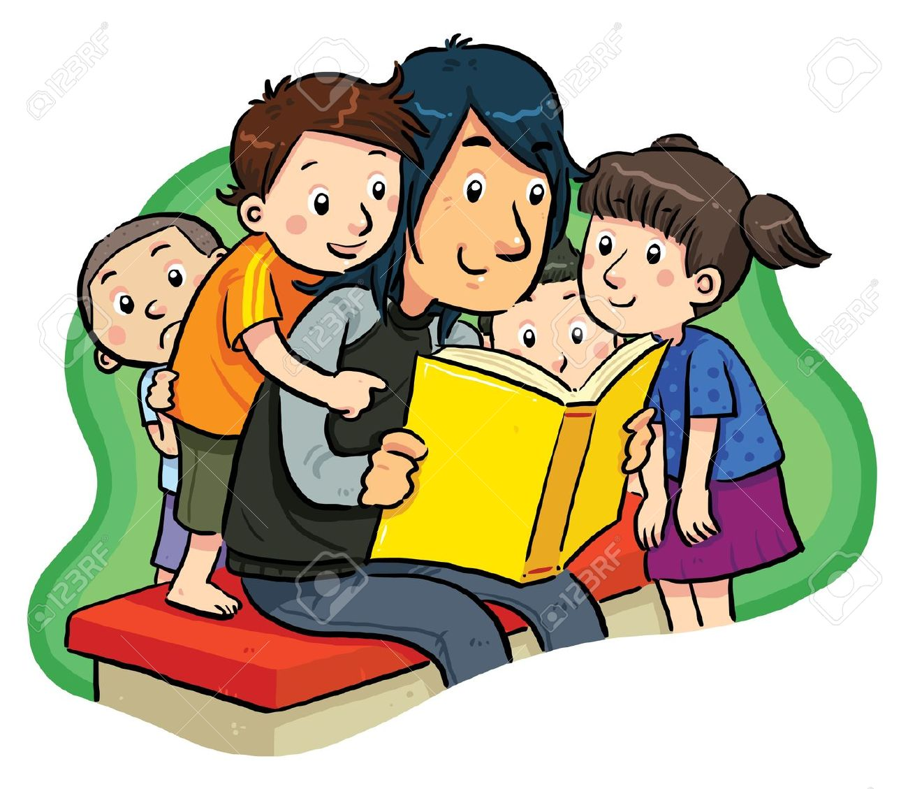 Reading Together Clipart.