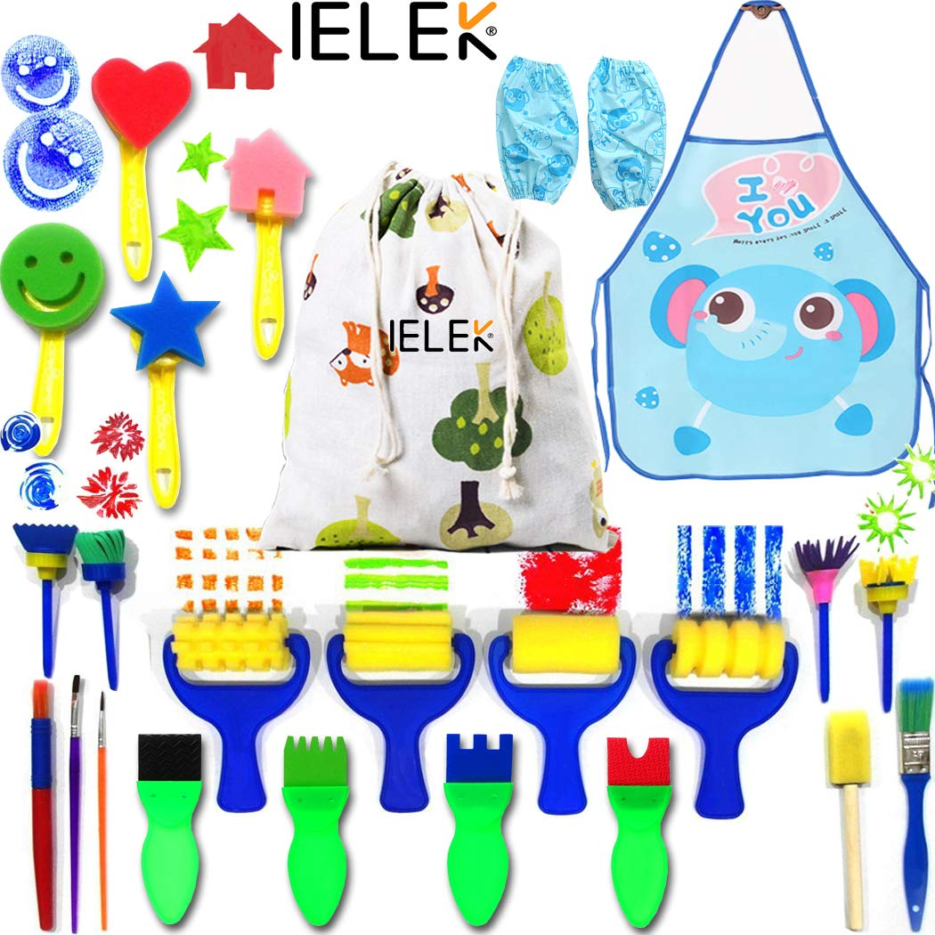 IELEK Painting Kits for Kids,Art Smocks Waterproof Craft Drawing Tools  Set,Sponge Brushes Artist Painting Aprons with 2 Sleeves for Early DIY  Learning.