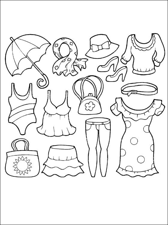 Summer clothing coloring page.