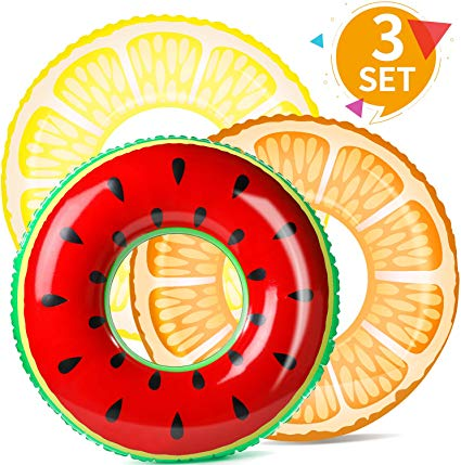 BABCOO Pool Floats for Kids (3 Pack) Toddler Adult Floaties Swim Trainer  Ring Inflatable Tube for Boys Girls, Diameter 32.5 Inch.