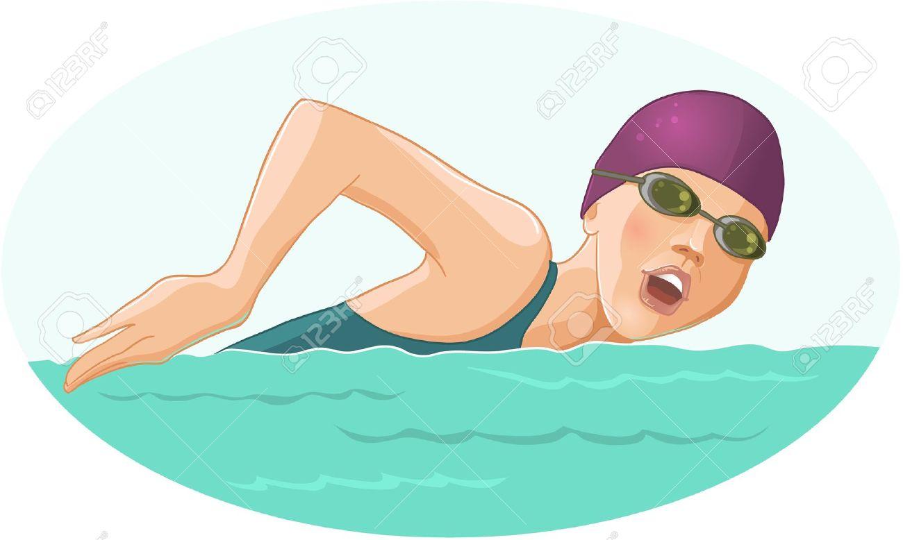 Women Swimming Clipart.