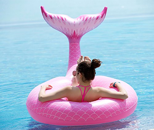 Jasonwell Giant Inflatable Mermaid Tail Pool Float with.