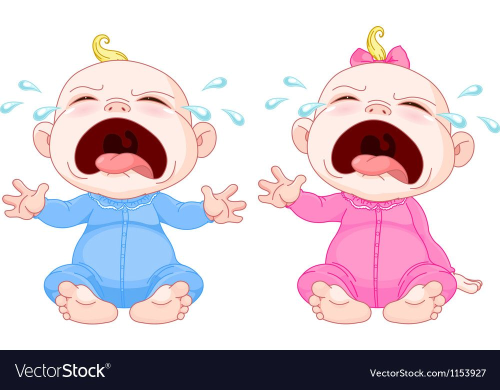 Crying baby twins Royalty Free Vector Image.