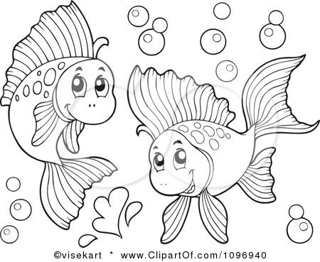 Clipart Two Outlined Happy Fish Playing Underwater.