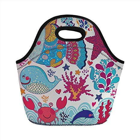 Amazon.com: Neoprene Lunch Bag, Whale, Funny Fishes Starfish.