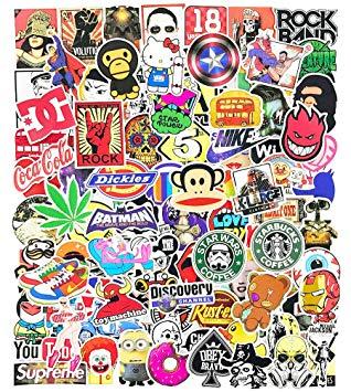 Skateboard Brand Vinyl Stickers Pack for Teens Adults Water Bottles Laptop  Car MacBook Bike Luggage Decals 100pcs.