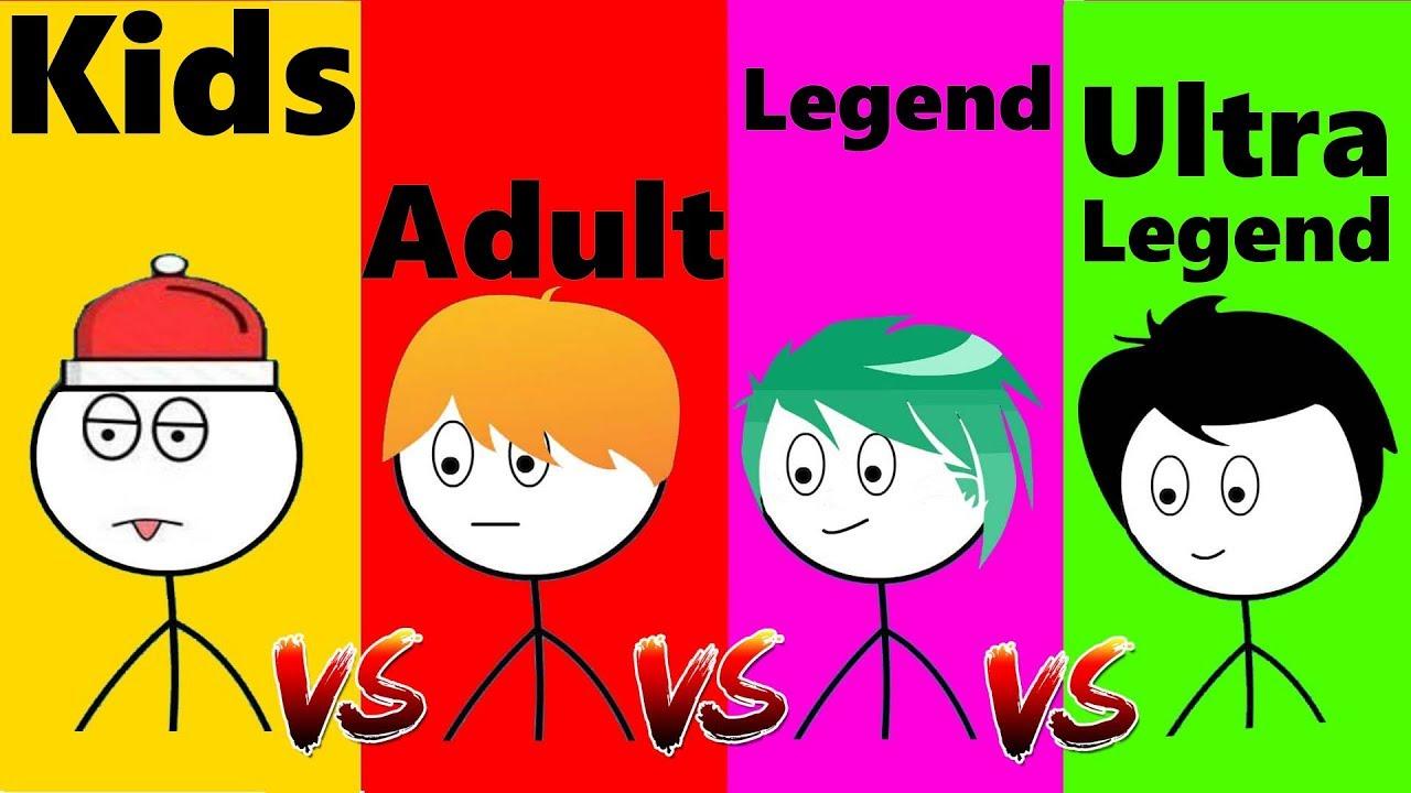 Kid VS Adult VS Legend VS Ultra Legend Gamers.