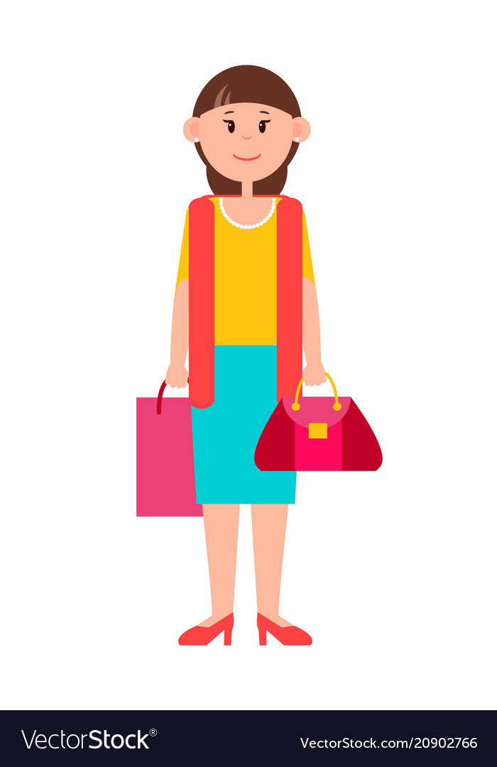 Adult woman in casual clothes with shopping bag.