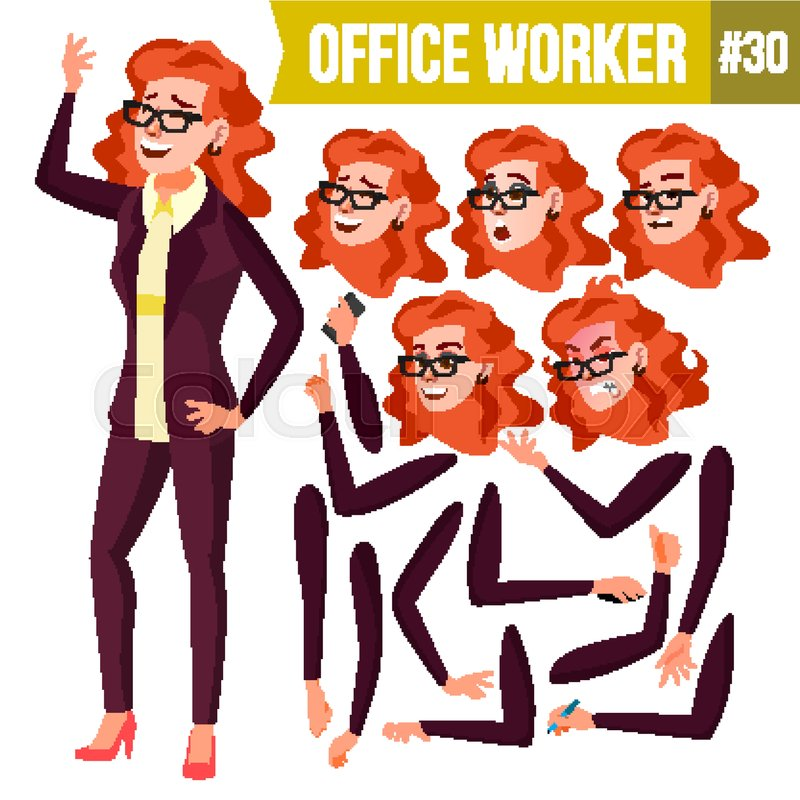 Office Worker Vector.Woman. Successful.