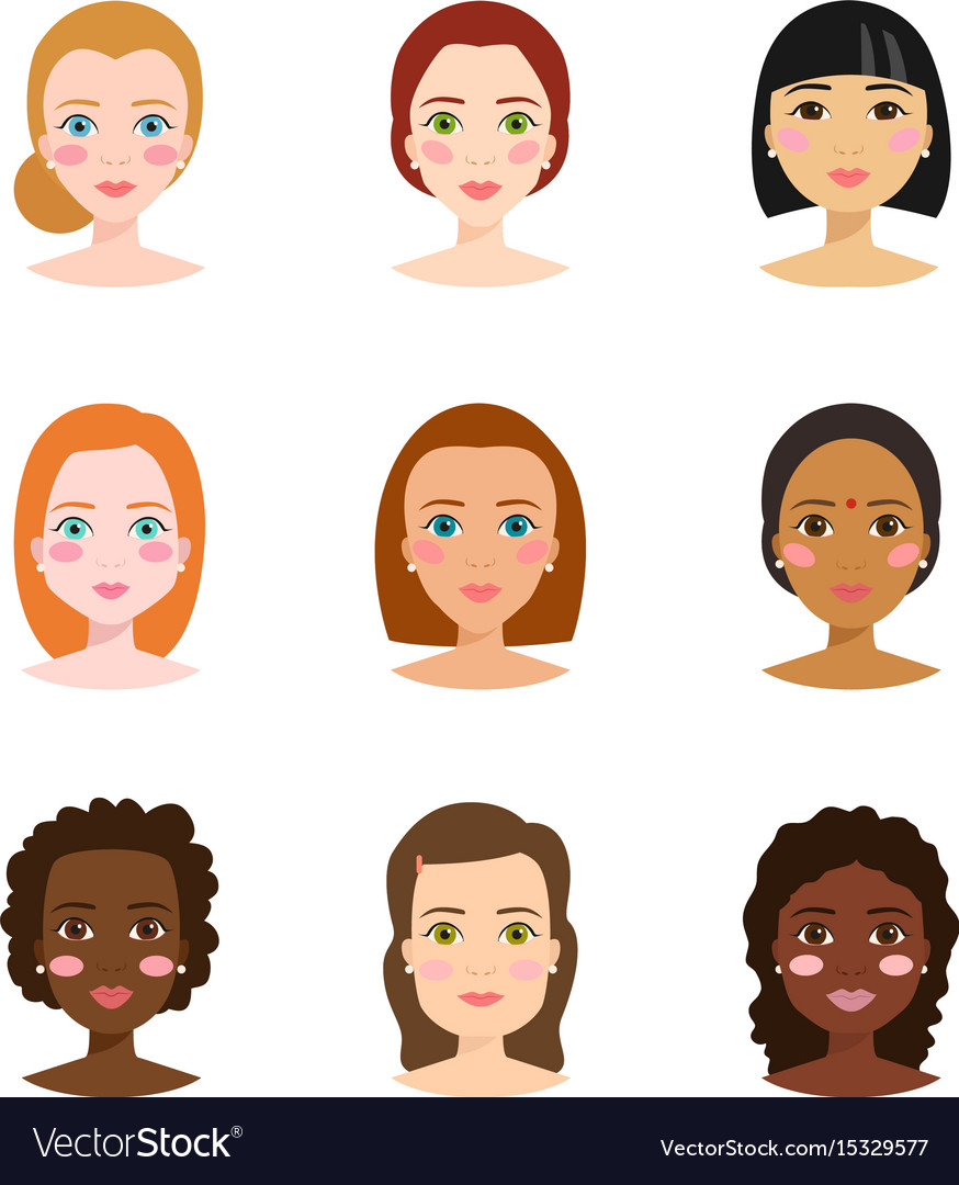 Set of different woman face types.