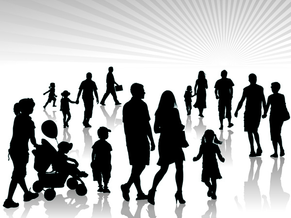 Adults and children silhouette vector Free vector in.