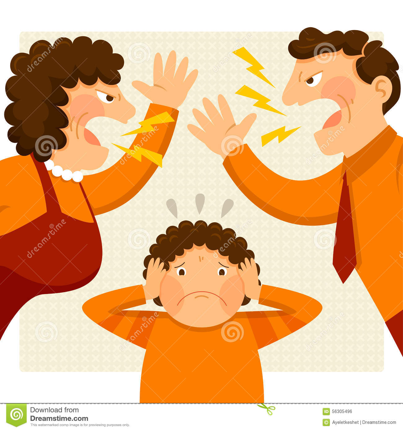Parents Fighting In Front Of Child Clipart.