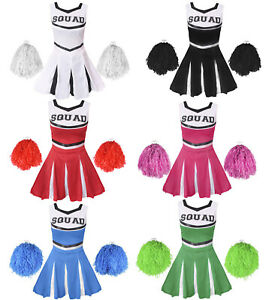 Details about CHEERLEADER FANCY DRESS COSTUME ADULTS CHEER UNIFORM OUTFIT  HIGH SCHOOL SPORT.