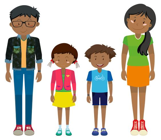Adult and children standing together.