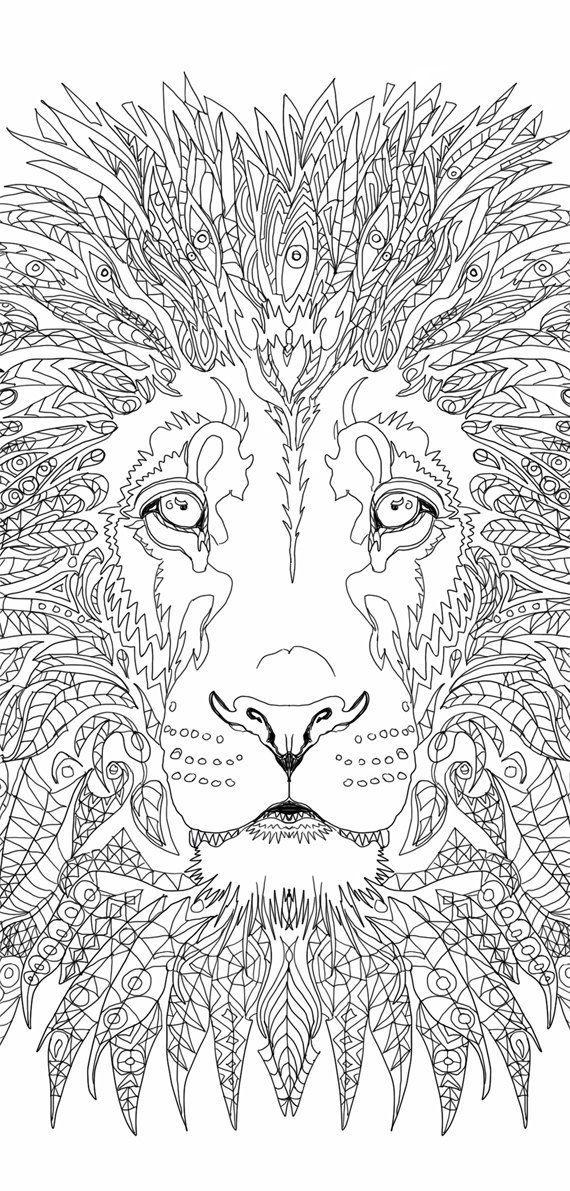 Lion Coloring pages Printable Adult Coloring book Lion Clip.