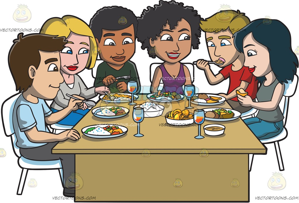 Friends Eating Lunch Clipart.