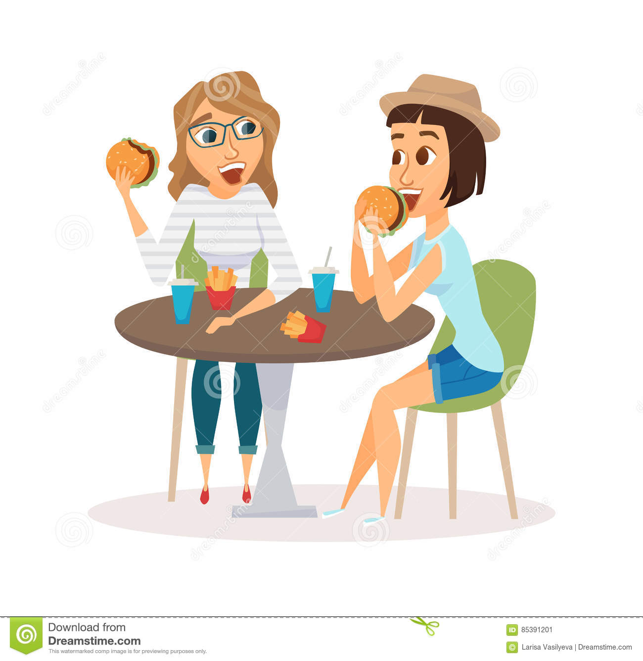 Friends Eating Clipart.