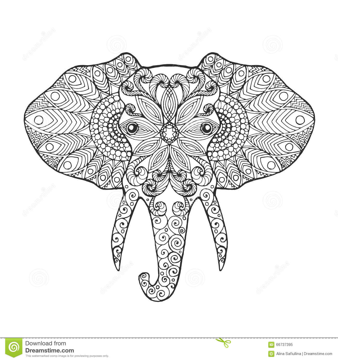 Elephant Head Coloring Pages For Adults.