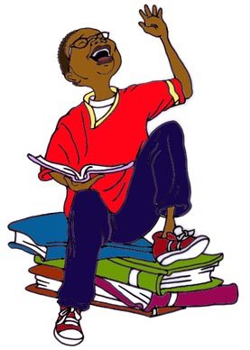 Reading and laughing clipart.