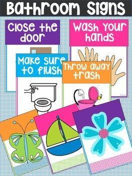 Printable Bathroom Rules & Reminder Signs.
