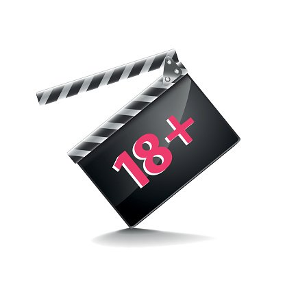 Clapper board adults only isolated on white vector Clipart.