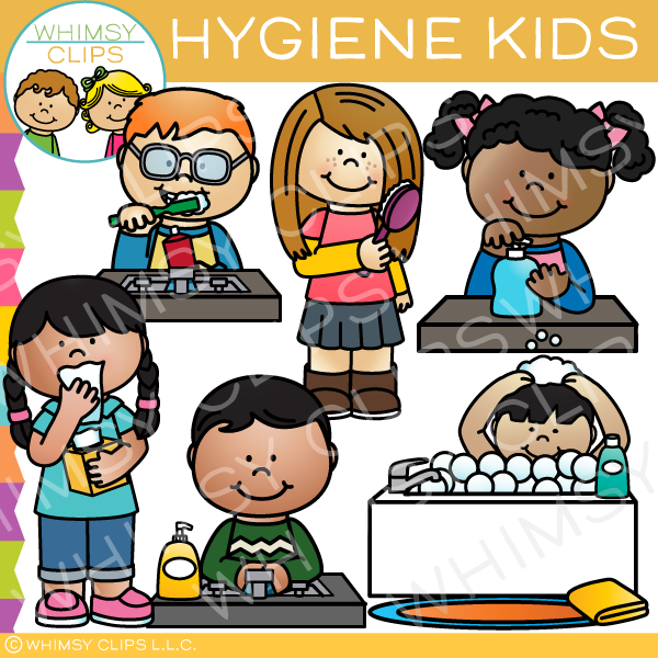 Adults praciting personal hygiene cliparts clipart images.