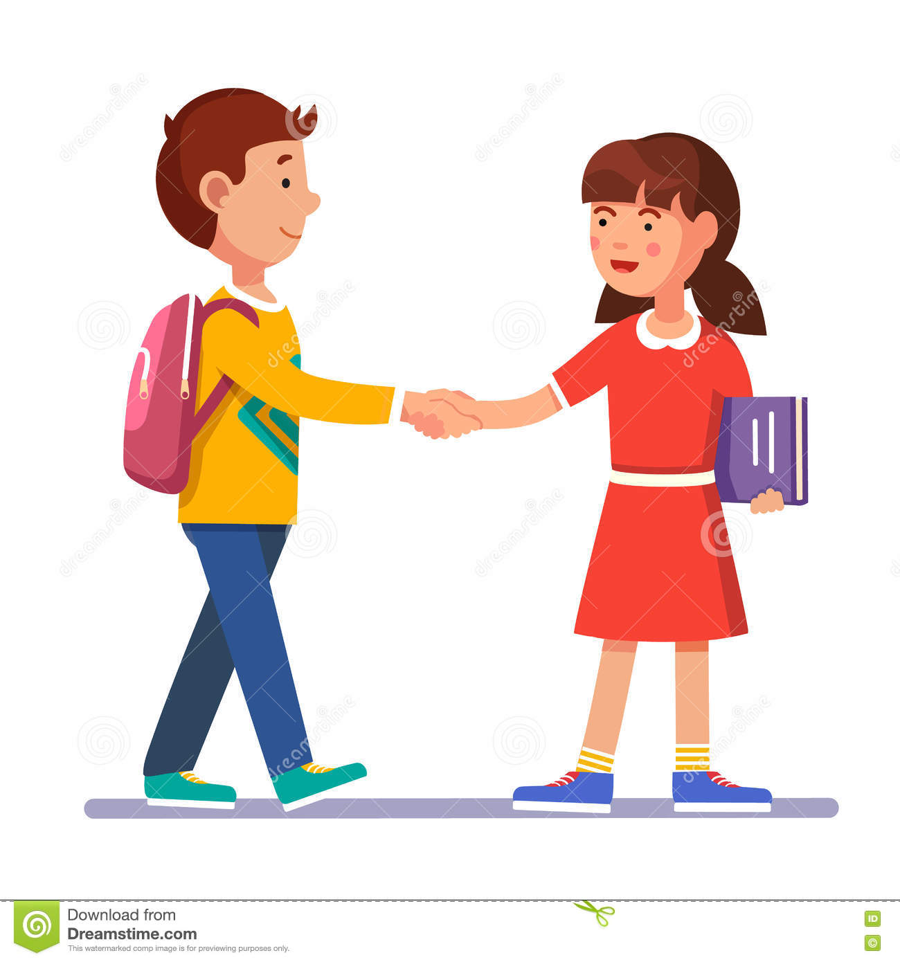 Girls Shaking Hands Clipart.