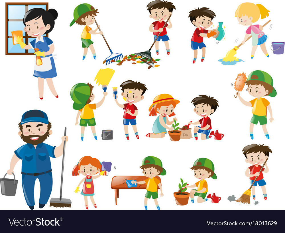 Adults and kids in various cleaning positions.
