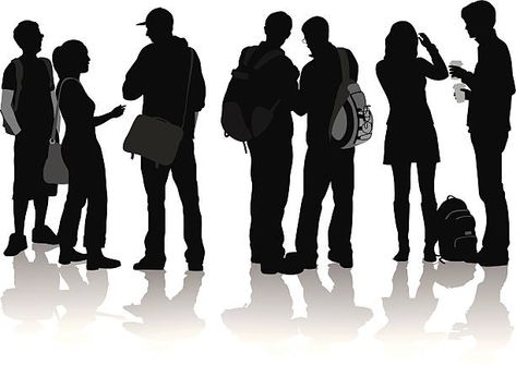 Royalty Free College Students Talking Clip Art.
