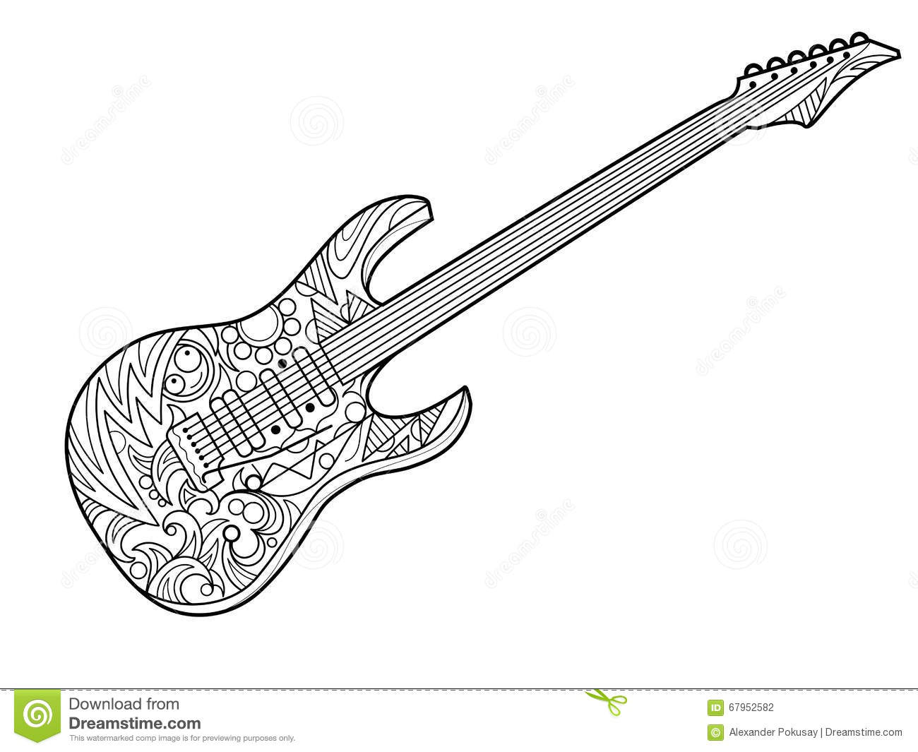 Guitar Coloring Book Adults Stock Illustrations.