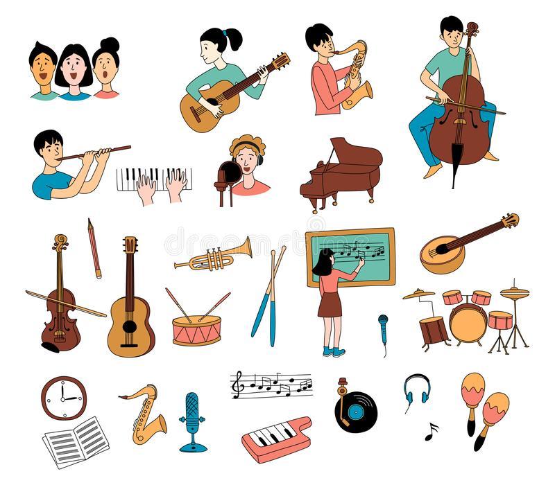 Adult Flute Music Stock Illustrations.