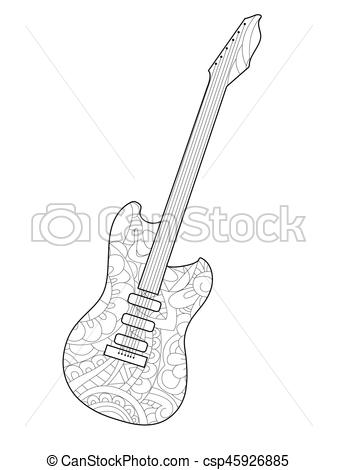Musical instrument guitar Coloring book vector for adults.
