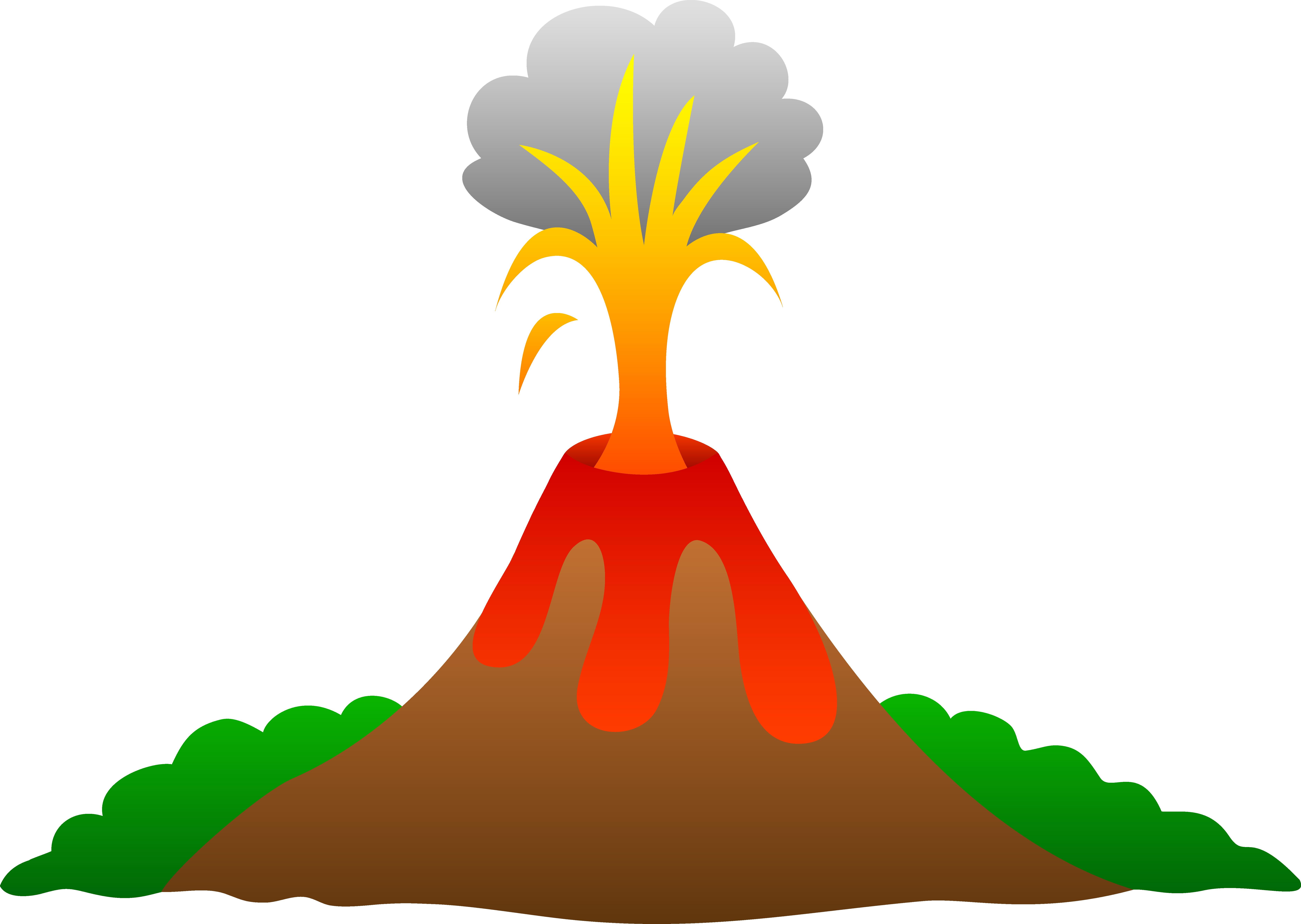 Clipart Of Erupting Volcano.