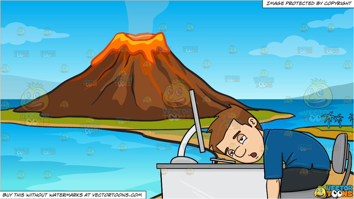 A Man Tired From Working On His Computer and A Volcano Island Background.