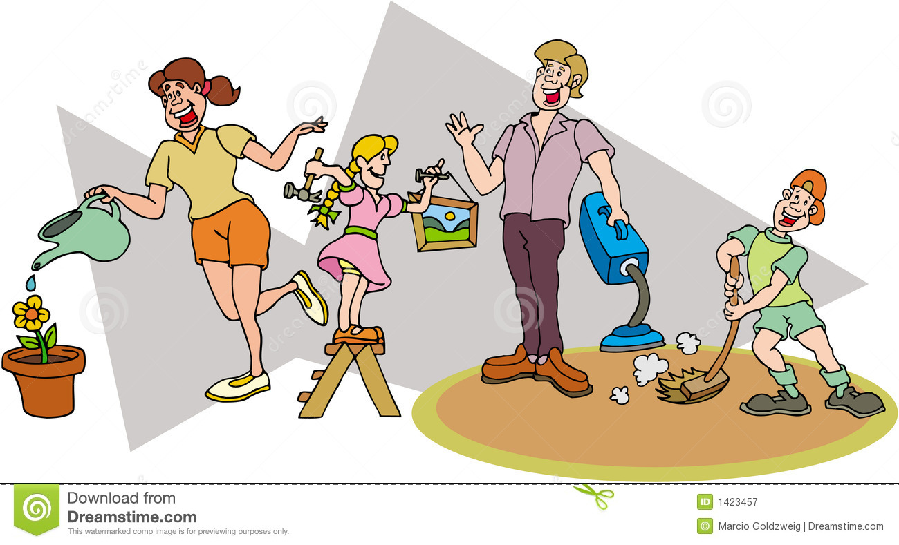 Family Working Together Clipart.