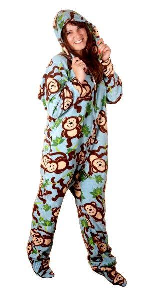 Monkeys Deluxe Adult Onesies, Footed Pajamas, Onesie Footie.