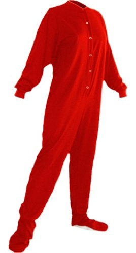 Big Feet Pjs Red Cotton Jersey Adult Footed Pajamas w Drop.
