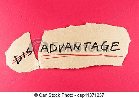 Stock Photos of Disadvantage to advantage.