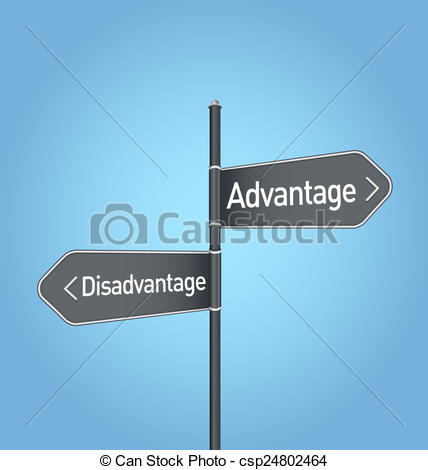 Stock Illustration of Advantage vs disadvantage choice road sign.