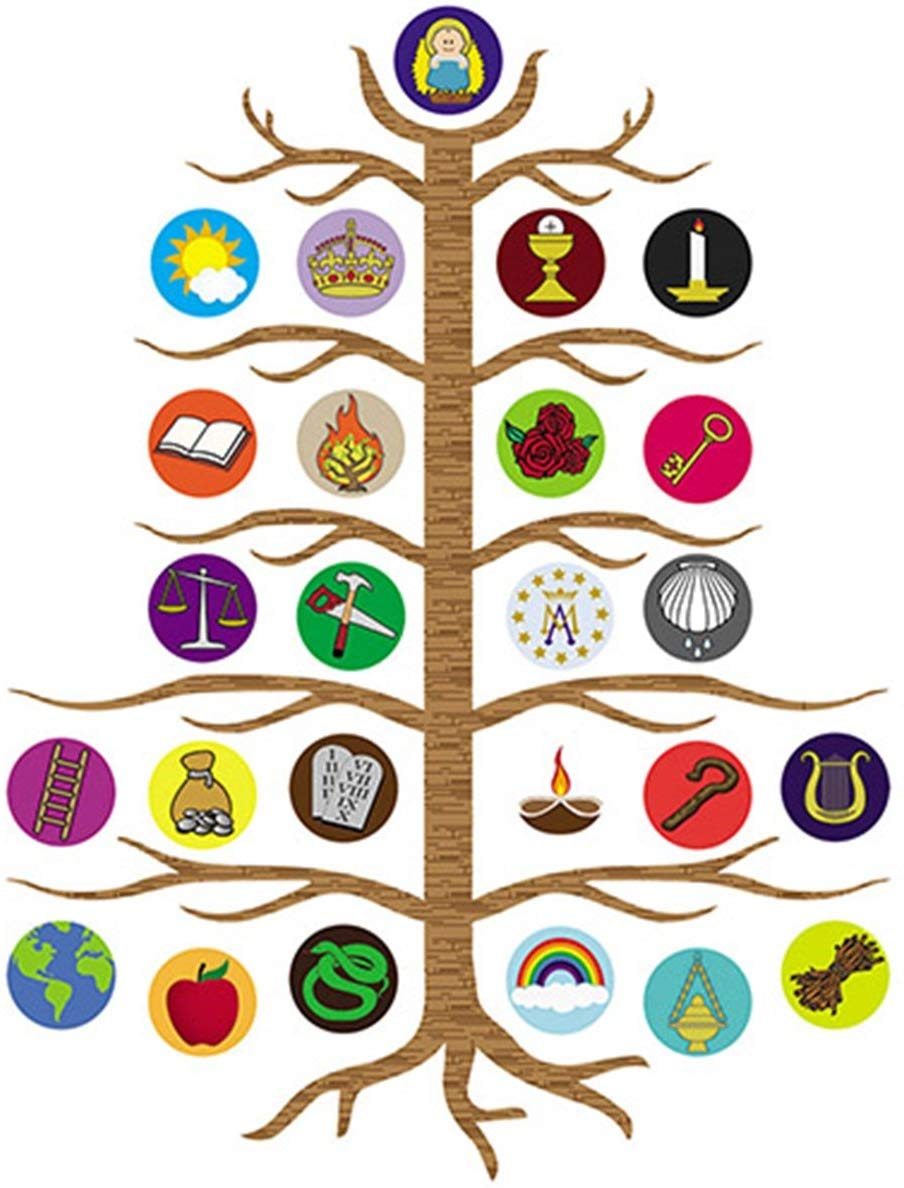 Advent Jesse Tree Devotional Flexible Magnet Set with Explanation Story  Card, 10 1/2 Inch.