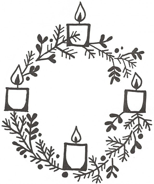 Advent Candles Wreath Colouring Pages.