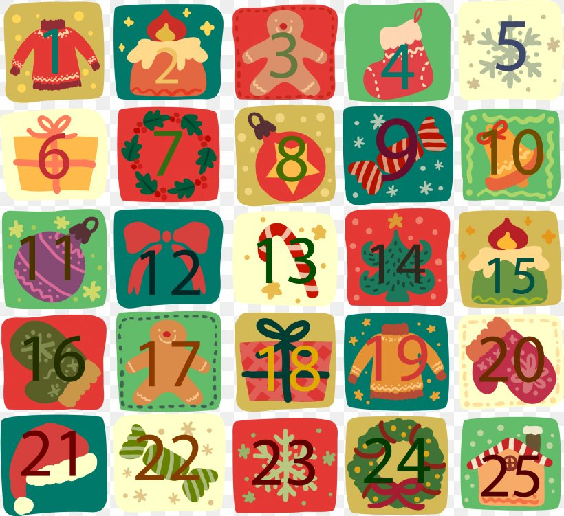 Christmas Santa Claus Advent Calendar, PNG, 2733x2506px.