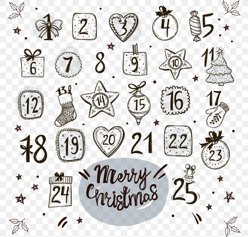 Drawing Advent Calendar Christmas Countdown, PNG, 772x783px.