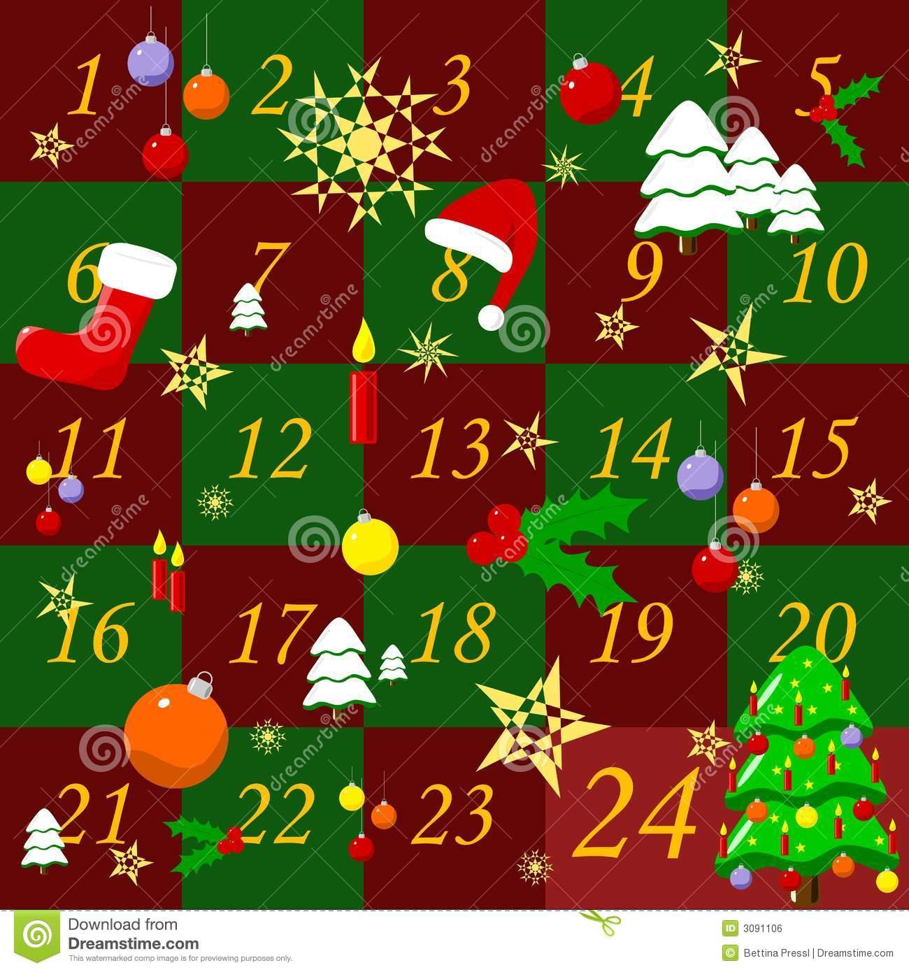 Free Christmas Advent Calendar Clipart.