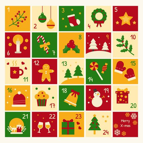 Christmas Advent Calendar Vector.