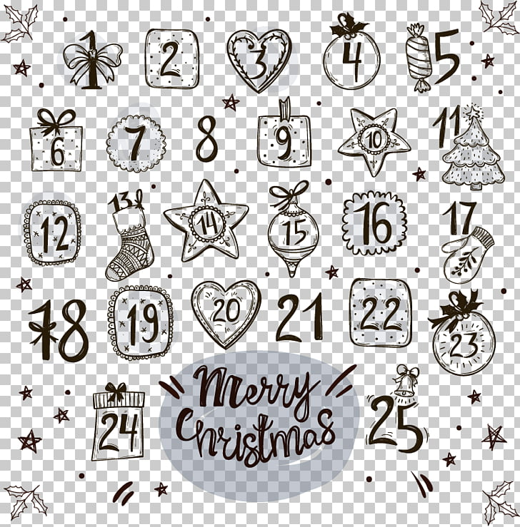Drawing Advent calendar Christmas Countdown, Hand.